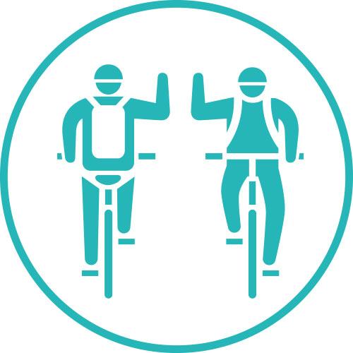 サイクリスト同士や地域の方にあいさつして交流を深めましょう